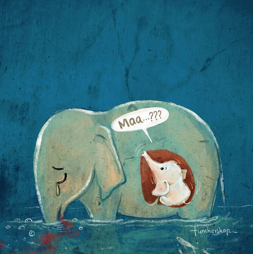 Des artistes rendent hommage à l'éléphante enceinte qui est morte à cause d'un ananas rempli de pétards