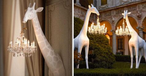 Tu peux acheter une girafe de 4 mètres en fibre de verre pour suspendre ton lustre