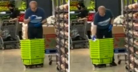 Un employé de supermarché a été pris à nettoyer des paniers d'épicerie avec sa salive