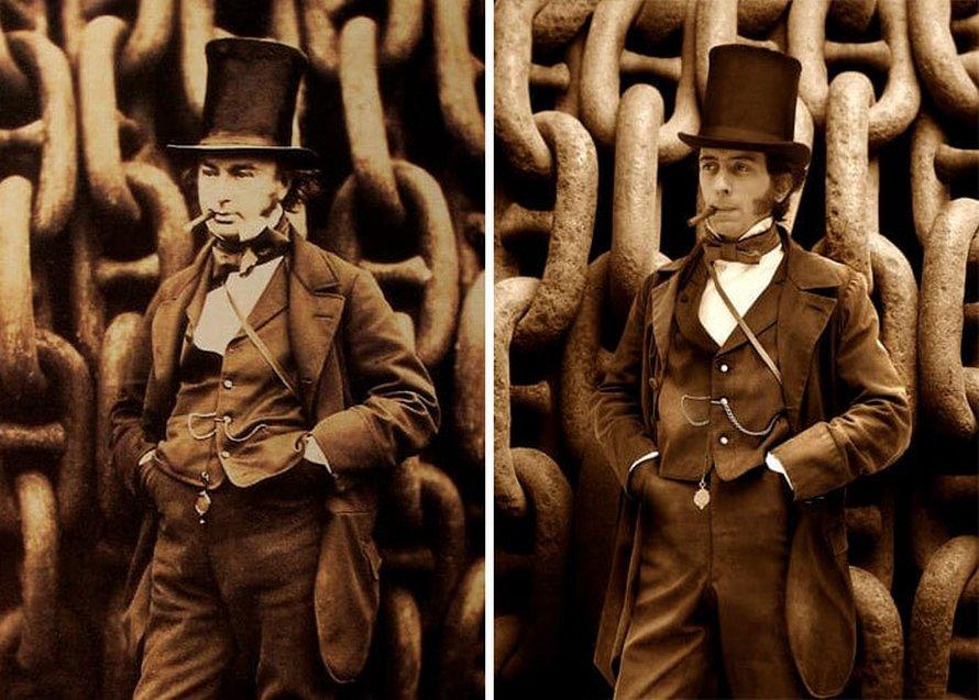 15 portraits côte à côte de personnages historiques célèbres et de leurs descendants directs
