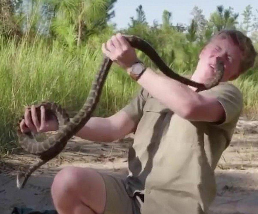 Robert Irwin présente une vidéo d'un serpent qui le mord au visage