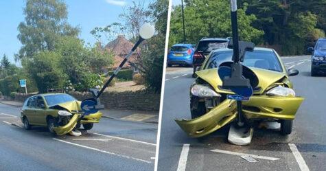 Un conducteur s'écrase sur un panneau de signalisation après avoir aperçu une araignée dans sa voiture
