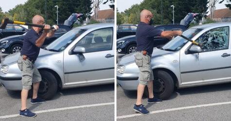 Un homme sauve un chien laissé dans une voiture chaude en brisant une vitre avec une hache