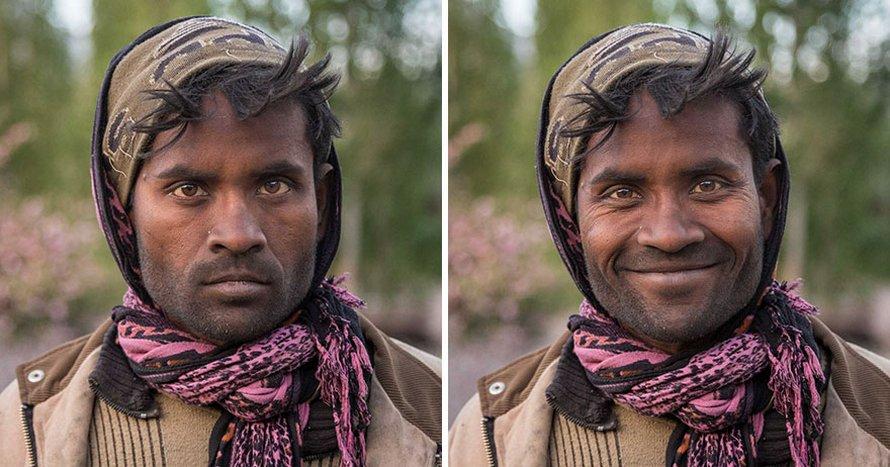 10 photos de personnes avant et après qu'on leur ait demandé de sourire