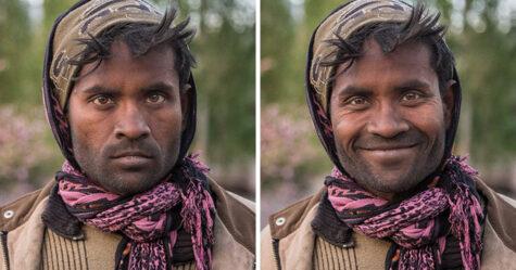 10 photos de gens avant et après qu'on leur ait demandé de sourire