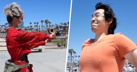Un homme crée un pistolet qui tire des masques sur le visage des gens