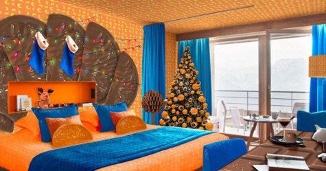 Vous pouvez séjourner dans une chambre d'hôtel sur le thème de Chocolate Orange pour Noël