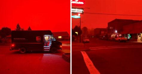 Le ciel est devenu rouge sang alors que les feux de forêt continuent de brûler aux États-Unis