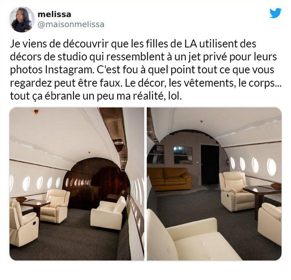 Des influenceurs utilisent des décors de studio pour donner l'impression qu'ils volent en jet privé et voici 6 exemples