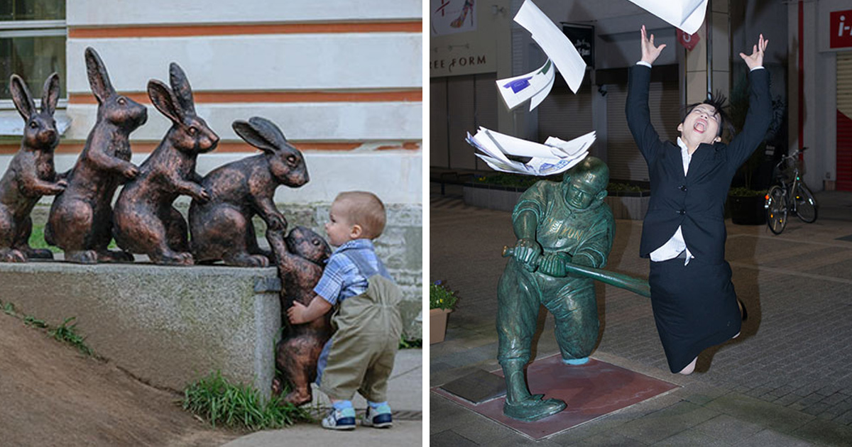 Ces gens ont pris des poses originales et farfelues avec des statues