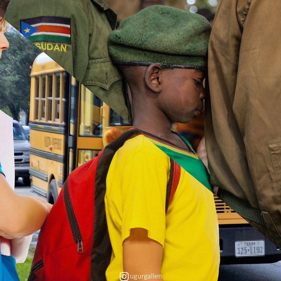 Cet artiste montre le contraste entre les deux mondes dans lesquels vivent les enfants en combinant des photos