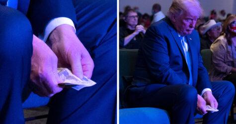 Trump dépose une liasse de billets dans la boîte de dons d'une église de Las Vegas