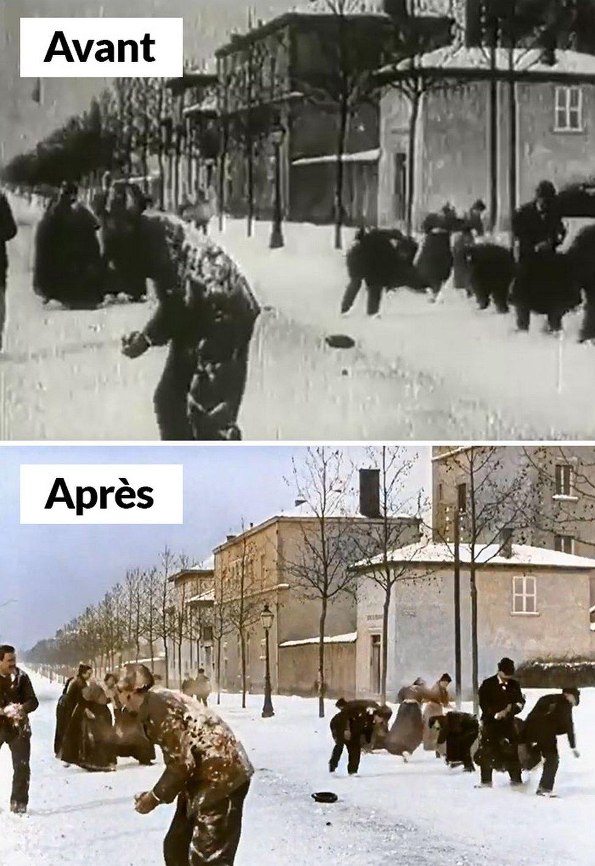 Ce film en noir et blanc de 1896 d'une bataille de boules de neige en France a été colorisé pour avoir l'air moderne