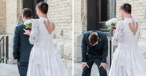 Un garçon d'honneur hilarant détourne le premier coup d'oeil vêtu d'une robe de mariée à 50 euros