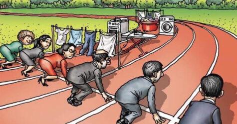 Quelqu'un a partagé une illustration sur les difficultés rencontrées par les femmes au travail et un homme a répondu avec sa version révisée