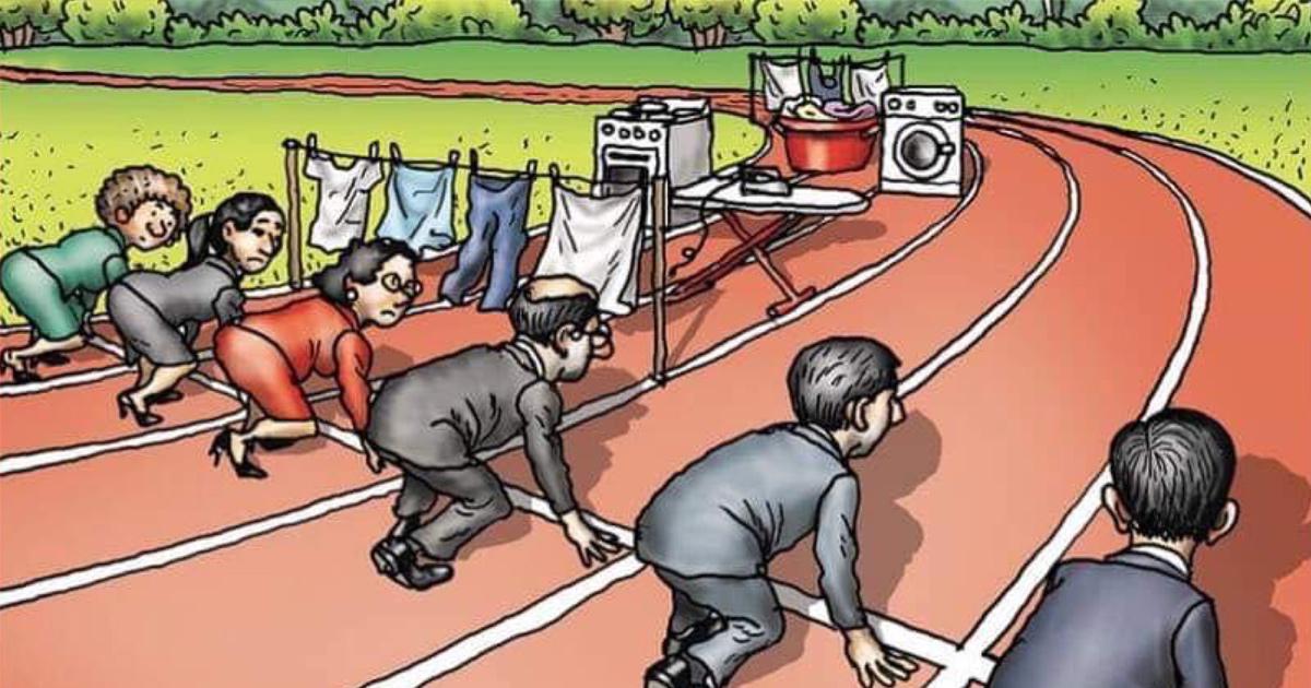 Quelqu'un a partagé une illustration sur les difficultés rencontrées par les femmes au travail et un homme a répondu par sa version révisée