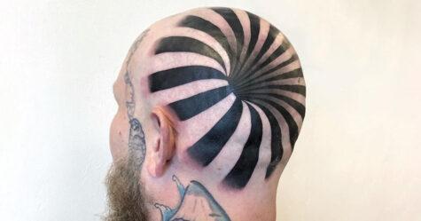 Cet incroyable tatouage 3D donne l'impression que cet homme a un trou dans la tête