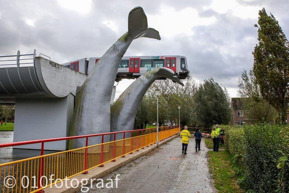 Un train fracasse une barrière et se pose sur une sculpture de baleine géante aux Pays-Bas