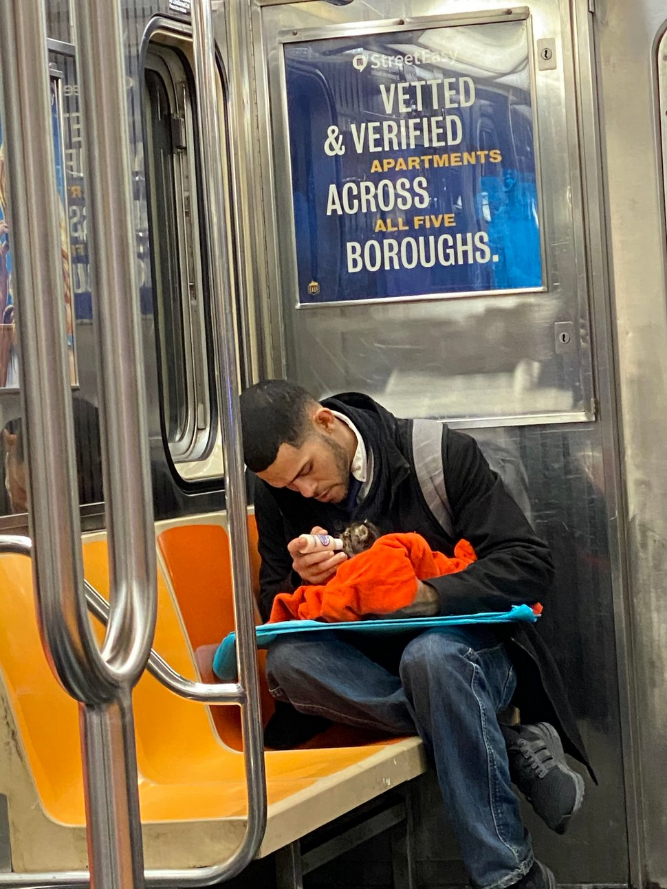 Un homme vu avec un minuscule chaton dans le métro redonne confiance aux gens en l'humanité ! Par Janvier Doyon Homme-avec-chaton-metro-gillian-rogers-003
