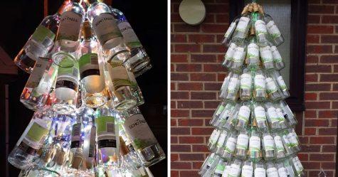 Une maman présente son sapin de Noël fait entièrement de bouteilles de vin vides
