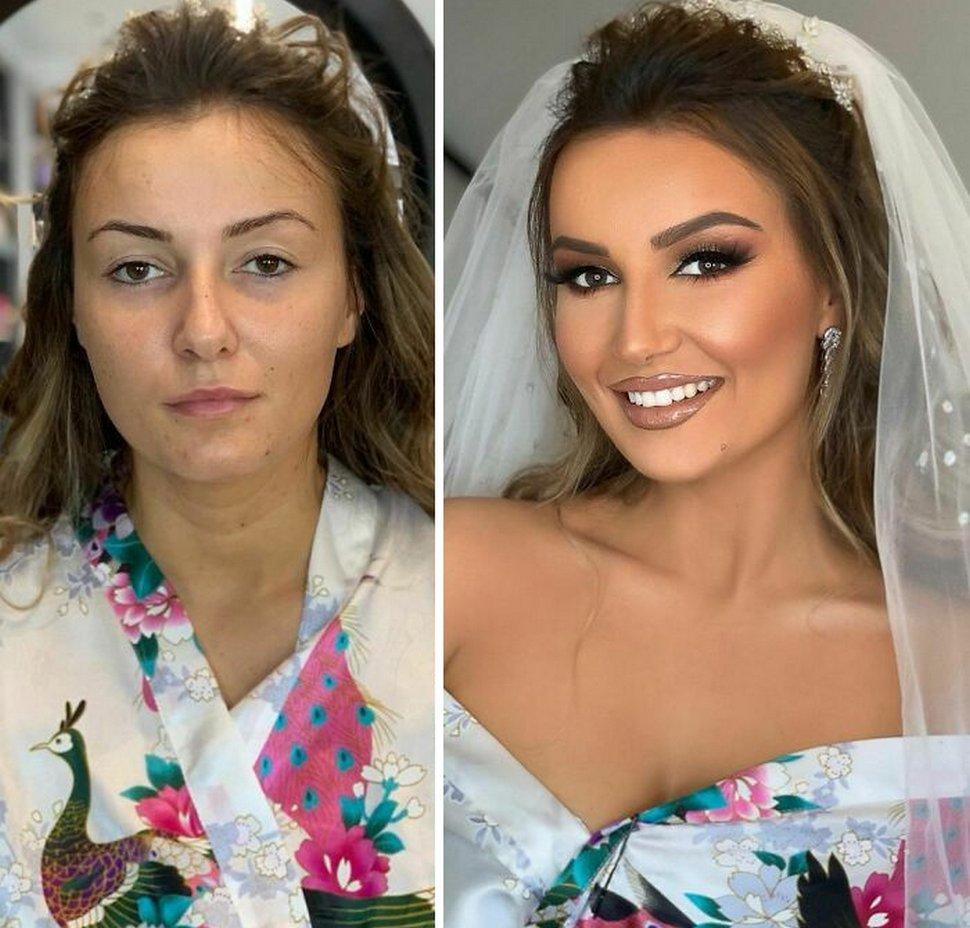 22 femmes avant et après leur maquillage de mariage