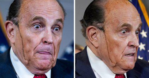 De la teinture pour cheveux coule sur le visage de Rudy Giuliani lors d'une conférence de presse déchaînée