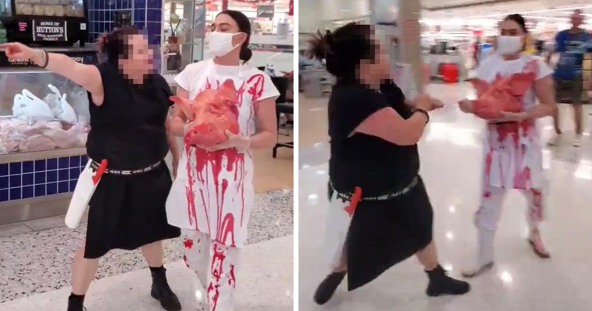 Une bouchère affronte une militante végan dans un centre commercial