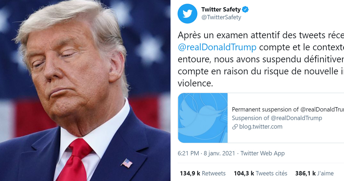 Donald Trump suspendu de Twitter de façon permanente