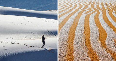 Des flocons de neige sont tombés sur le désert du Sahara et les photos sont à couper le souffle