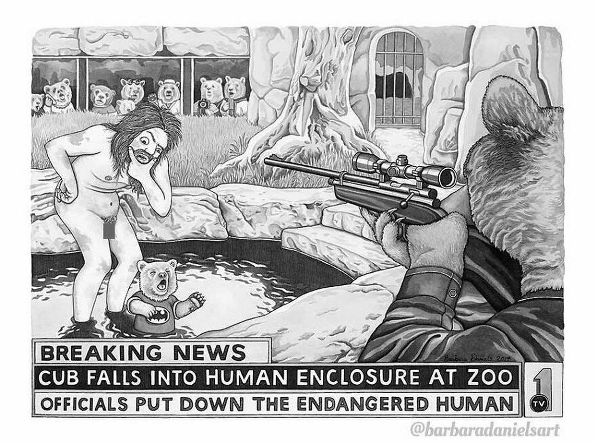 Cette artiste inverse le rôle des animaux et des humains dans ces 22 illustrations qui donnent à réfléchir