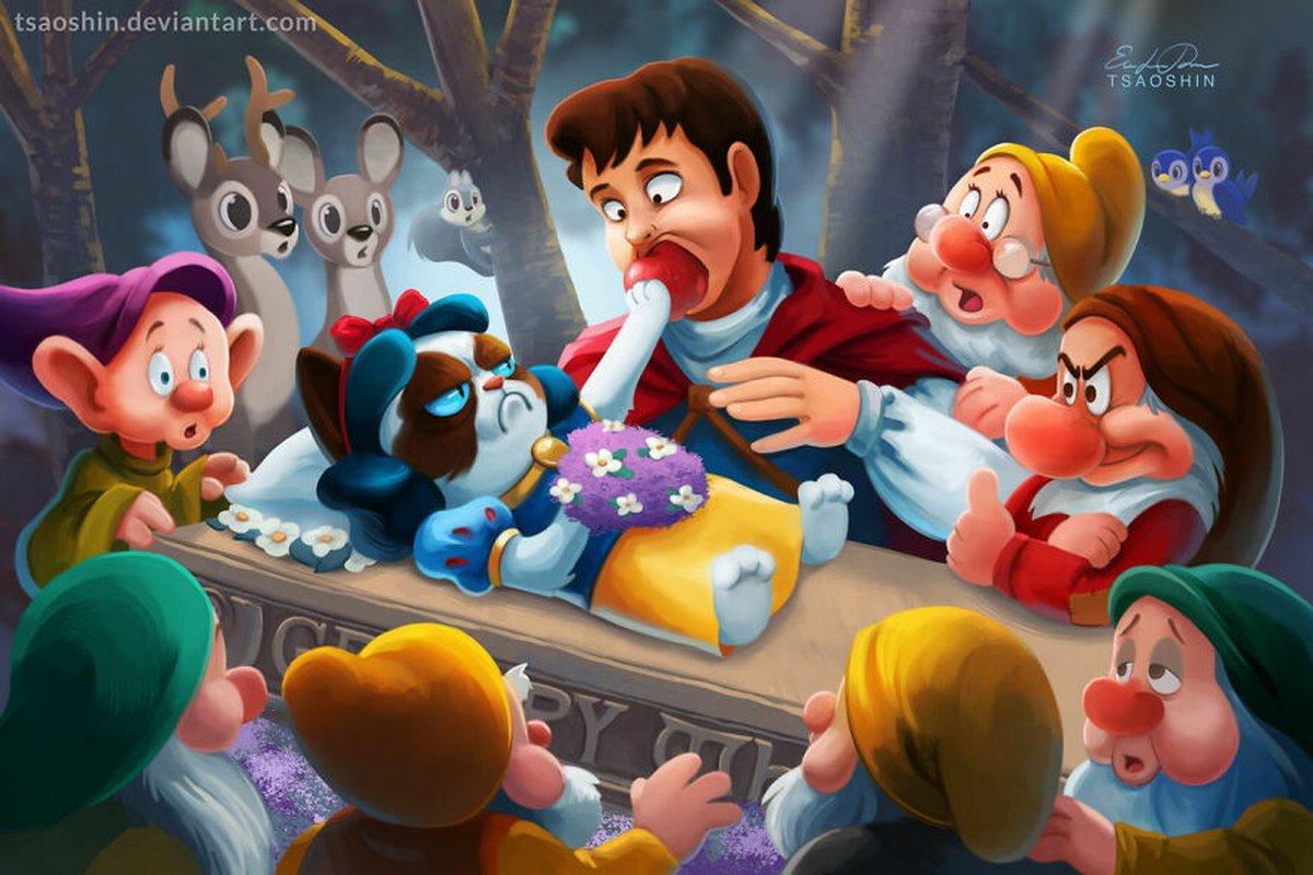Cet artiste insère le légendaire Grumpy Cat dans des films Disney et le résultat est hilarant