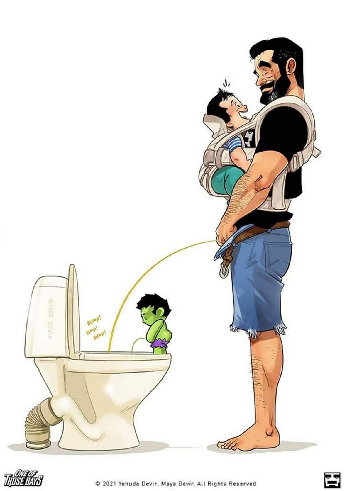 La famille Devir vient d'accueillir son fils et ces bandes dessinées montrent comment ça se passe