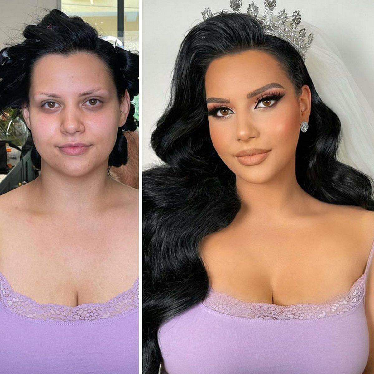 Voici des femmes avant et après leur maquillage de mariage