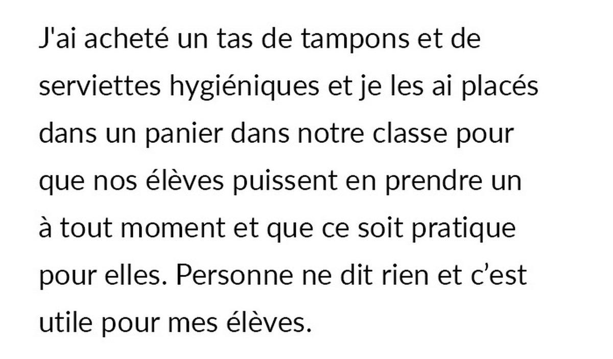 Une collègue reproche à un enseignant de garder un panier rempli de tampons et de serviettes hygiéniques pour ses élèves